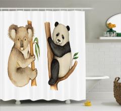 Suluboya Etkili Duş Perdesi Sevimli Koala ve Panda