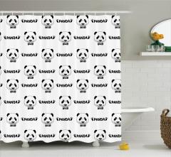 Panda Desenli Duş Perdesi Siyah Beyaz Şık Tasarım