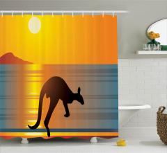 Kanguru Siluetli Duş Perdesi Gün Batımı Ufuk Çizgisi