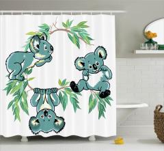 Çocuklar için Duş Perdesi Bebek Koala Desenli Yeşil