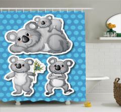 Çocuklar için Duş Perdesi Sevimli Koala Ailesi Mavi