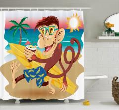 Çocuklar için Duş Perdesi Sörf Seven Maymun Tropikal
