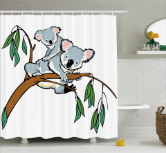 Okaliptüs Ağacı Duş Perdesi Ağaç Dalına Koala Gri