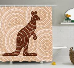 Kahverengi Duş Perdesi Kanguru Figürü Modern Sanat