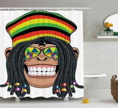 Hippi Maymun Desenli Duş Perdesi Jamaika Komik