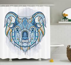 Etnik Desenli Duş Perdesi Koala Avustralya Motifleri