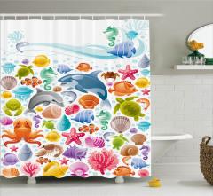 Deniz Altı Yaşam Temalı Duş Perdesi Renkli Balıklar