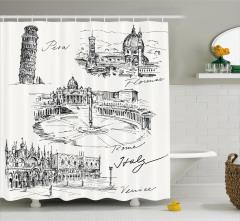 İtalya Temalı Duş Perdesi Pisa Kulesi Roma Venedik