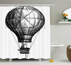 Sıcak Hava Balonu Desenli Duş Perdesi Siyah Beyaz