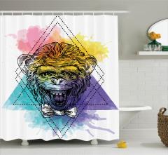Maymun Baskılı Duş Perdesi Modern Sanat Şık Tasarım
