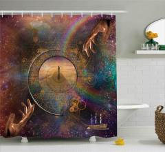 Sonsuzluk Temalı Duş Perdesi Evrende Yolculuk Uzay