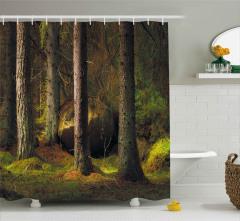 Orman Desenli Duş Perdesi Ağaçlar Yemyeşil Doğa