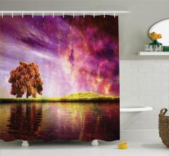 Büyüleyici Gökyüzü Temalı Duş Perdesi Nehir Ağaç