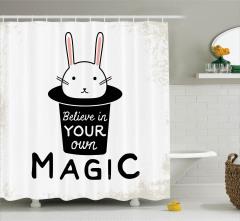 İlham Verici Duş Perdesi Şapkadan Tavşan Çıkarma
