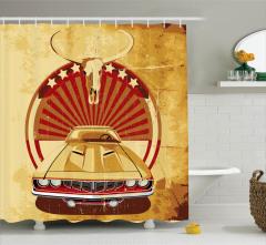 Klasik Araba Temalı Duş Perdesi Nostaljik Tasarım