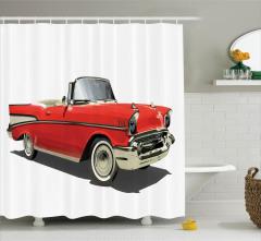 Eski Moda Araba Temalı Duş Perdesi Kırmızı Retro