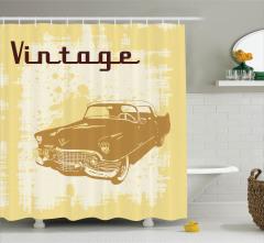 Nostaljik Araba Desenli Duş Perdesi Sarı Kahverengi