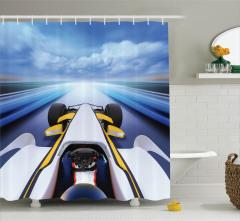 Hız Tutkunları için Duş Perdesi Yarış Arabası Temalı