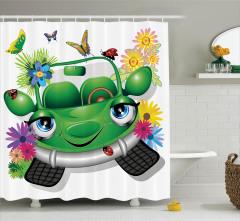 Çocuklar için Duş Perdesi Ekolojik Araba Çiçekler