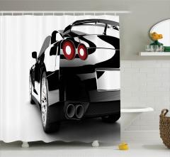Spor Araba Baskılı Duş Perdesi Şık Tasarım Siyah