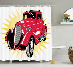 Nostaljik Araba Desenli Duş Perdesi Kırmızı Retro