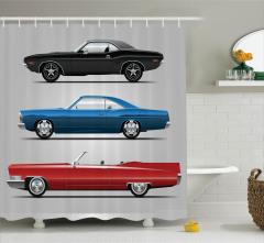 Klasik Araba Desenli Duş Perdesi Nostaljik Tasarım