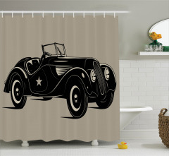 Nostaljik Duş Perdesi Klasik İtalyan Arabası Baskılı