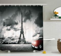 Romantik Paris Manzaralı Duş Perdesi Eyfel Kulesi