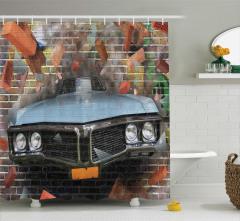Sokak Sanatı Temalı Duş Perdesi Gerçekçi Grafiti