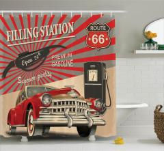 Nostaljik Poster Etkili Duş Perdesi Retro Kırmızı