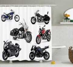Motosiklet Desenli Duş Perdesi Şık Tasarım Siyah
