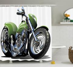 Yeşil Motosiklet Desenli Duş Perdesi Macera Tutkunu
