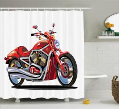 Kırmızı Motosiklet Desenli Duş Perdesi Şık Tasarım