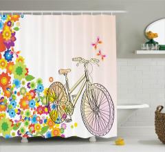 Bahar Temalı Duş Perdesi Bisiklet Kuşlar Macera