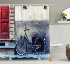 Nostaljik Duş Perdesi Bisiklet Şık Tasarım Trend