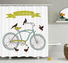 Bisiklet Desenli Duş Perdesi Mor Bahar Çiçekleri