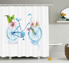Bahar Temalı Duş Perdesi Gökkuşağı Bisiklet Çiçekler