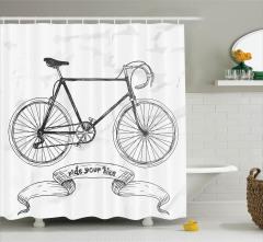 Karakalem Etkili Duş Perdesi Bisiklet Desenli Siyah