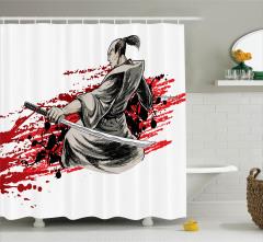 Japon Dekor Duş Perdesi Savaşçı Samuray Kırmızı