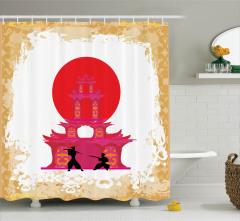 Japon Dekor Duş Perdesi Samuray Savaşı Tapınak Sarı