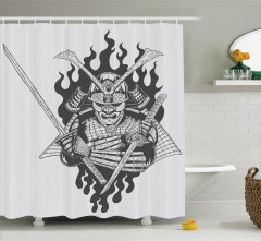 Japon Dekor Duş Perdesi Hayalet Samuray Gri Siyah