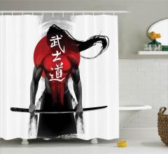 Japon Dekor Duş Perdesi Savaş Sanatı Samuray siyah