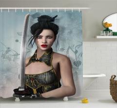 Japon Dekor Duş Perdesi Kadın Samuray ve Kılıcı