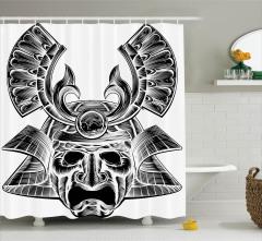 Samuray Maskesi Desenli Duş Perdesi Gri Nostaljik