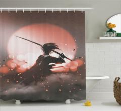 Samuray ve Gün Batımı Temalı Duş Perdesi Pembe Gri