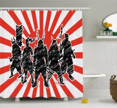 Samuray Desenli Duş Perdesi Siyah Kırmızı Çizgili