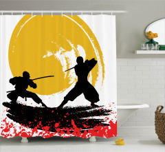 Ninja Desenli Duş Perdesi Sarı Siyah Kırmızı Savaşçı