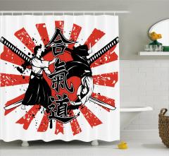 Samuray ve Kılıç Desenli Duş Perdesi Kırmızı Siyah