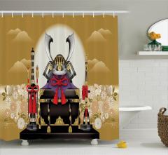 Samuray Desenli Duş Perdesi Bej Çiçek Japon Kılıç