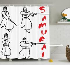 Samuray Temalı Duş Perdesi Siyah Beyaz Kırmızı Kılıç
